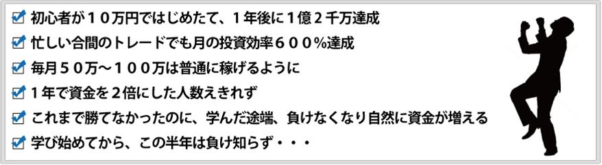 ○ 初心者が10万円ではじめたて、1年後に1億2千万達成